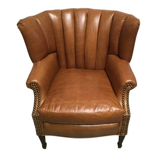 1940s Unique Channel Back Bucket Wing Chair For Sale