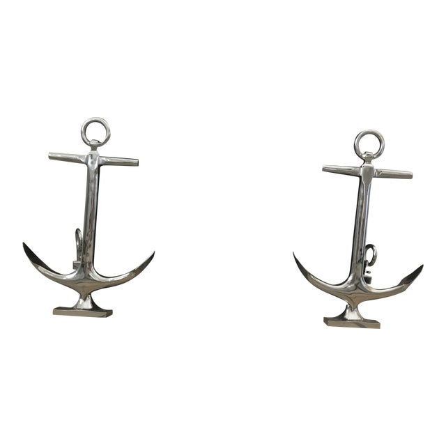 Nickel Anchor Andirons For Sale