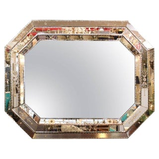 Large Hollywood Regency Venetian Mirror With Etched Floral Details For Sale