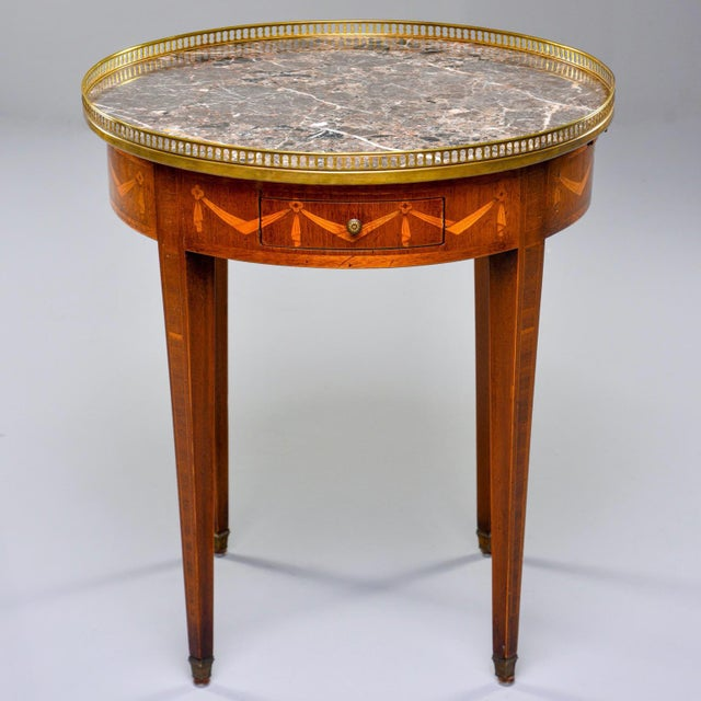 French Oak Marble Top Gueridon With Marquetry and Brass Gallery For Sale - Image 13 of 13