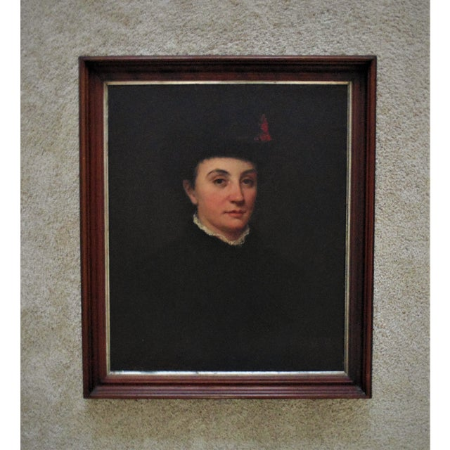 19th Century Antique Portrait of Victorian Woman Oil on Board Painting For Sale In Providence - Image 6 of 6