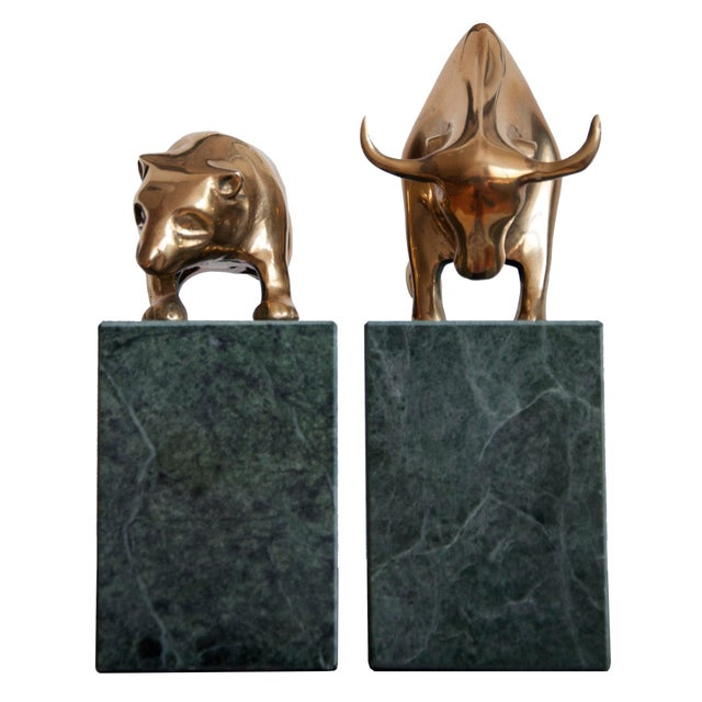 Vintage Art Deco Bull And Bear Bookends A Pair Chairish