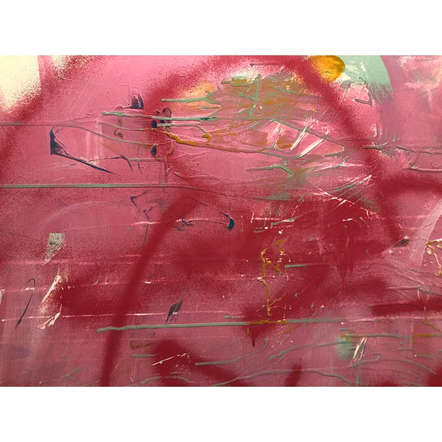 Paint Large Abstract Pink Painting on Panel by Mirtha Moreno For Sale - Image 7 of 11