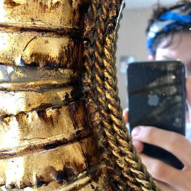 French Vintage French Gilt Metal Sunburst Mirror For Sale - Image 3 of 4
