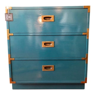 Vintage Lane Campaign Chest in Peacock Blue For Sale