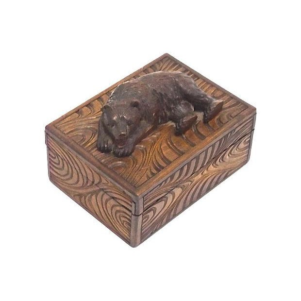 Antique Black Forest Carved Bear Box - Image 2 of 5