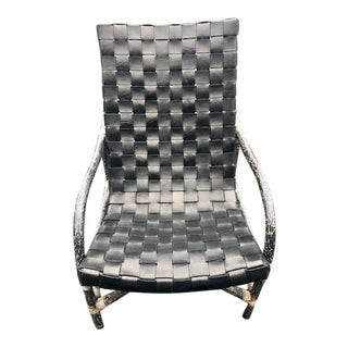 Asian Borneo Woven Black Leather Chair For Sale