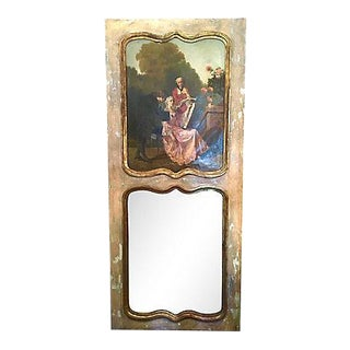 Late 19th Century French Trumeau Parcel-Gilt Mirror With Oil Canvas