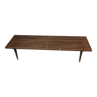 Mid-Century Danish Modern Walnut & Brass Slat Bench / Coffee Table