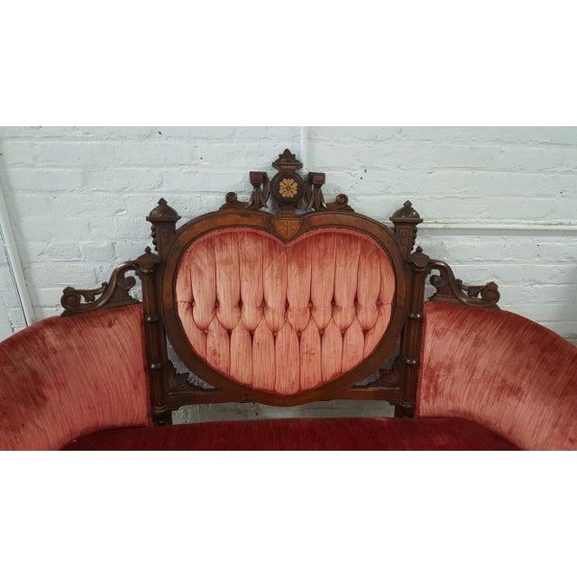 Antique Eastlake Heart-Back Red Velvet Settee & Chairs- Set of 3 - Image 7 of 9