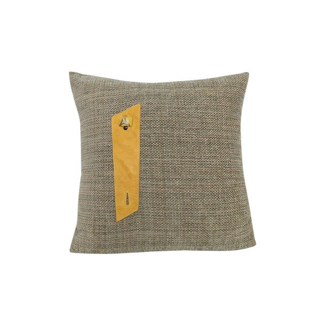 Gray Burlap Style Fabric & Yellow Leather Pillow For Sale