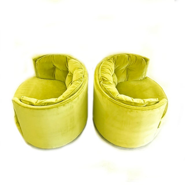 Hollywood Regency Vintage Chartreuse Velvet Club Chairs - a Pair For Sale - Image 3 of 5