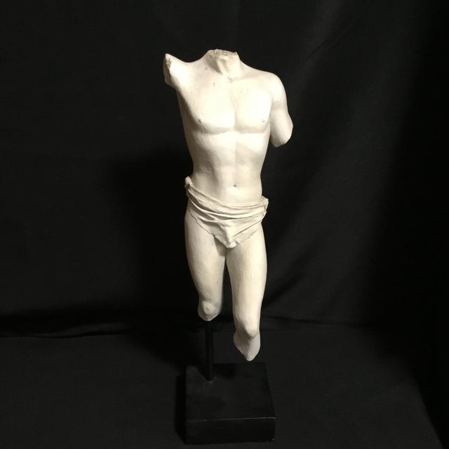 White Headless Armless Feetless White Plaster Male With Loin Cloth Greek Statue For Sale - Image 8 of 8