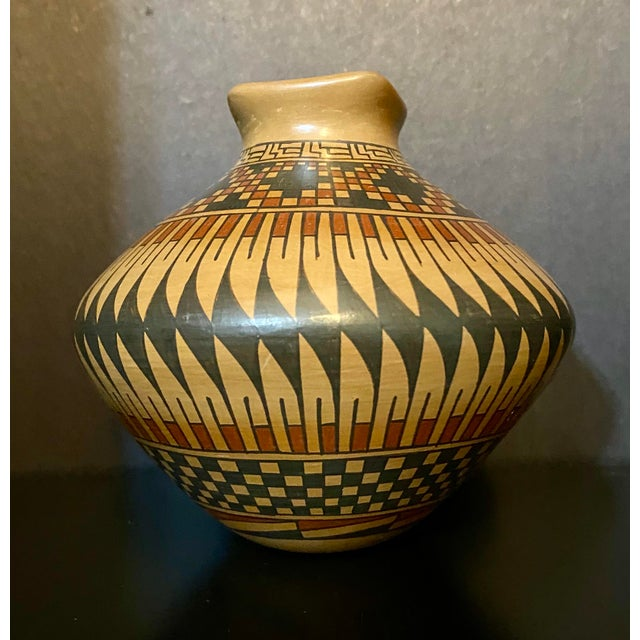 Vintage Native American Style Hand Painted & Crafted Maria Mora Pottery Vase For Sale In Saint Louis - Image 6 of 6