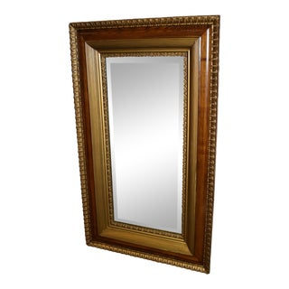 Antique Traditional Style Oak Gold Rectangular Wall Mirror For Sale