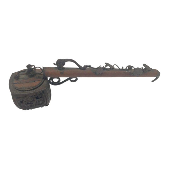 Asian Brass Metal Opium Pipe For Sale