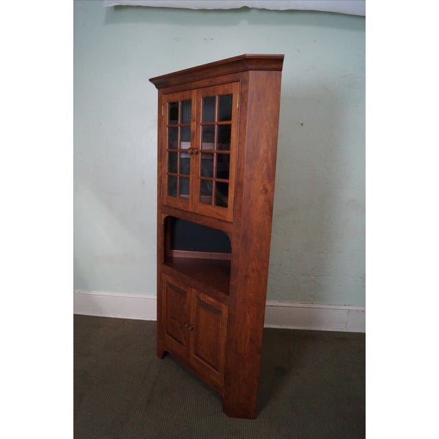 Custom Quality Solid Maple Country Corner Cabinet - Image 3 of 9