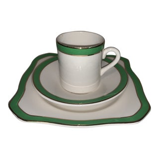 Mid-Century Modern Art Deco Queens Green Solain Ware Coffee/Espresso Cup, Saucer & Plate - 3 Piece Set For Sale