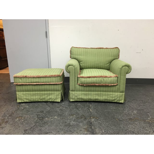Green Fringed Arm Chair & Ottoman - Image 2 of 9