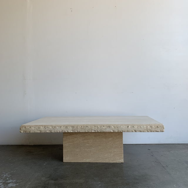 Textured Edge Travertine Coffee Table For Sale - Image 10 of 13