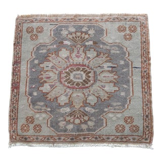 1960s Traditional Wool Doormat Turkish Carpet 1′10″ × 2′ For Sale