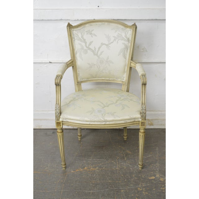 French Louis XVI Style Vintage Custom Paint Frame Fauteuil Arm Chair For Sale - Image 9 of 13