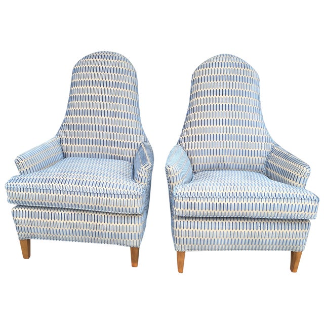 Hickory Cut Velvet Club Chairs - A Pair - Image 1 of 7