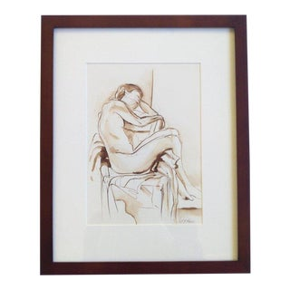 "Original Framed Ink Figure Drawing, ""Female Nude With Legs Over Chair"" by Michelle Arnold Paine For Sale"