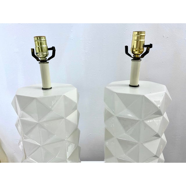 Mid-Century Modern Large White Ceramic Quilted Pattern Lamps - a Pair For Sale - Image 3 of 11