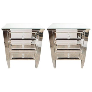 Pair of Hollywood Regency Style Custom Mirrored Nightstands With Three Drawers For Sale