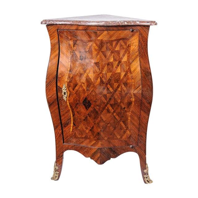 Antique French walnut corner cabinet. For Sale