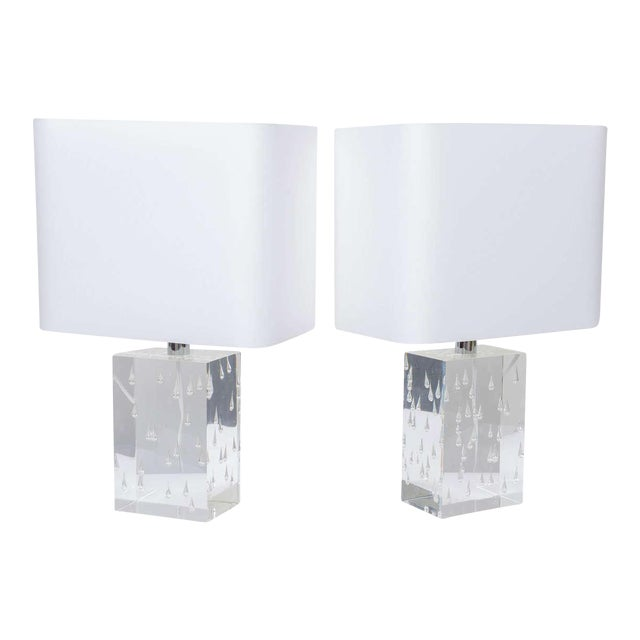 Pair of Rare Thick and Lucite Block with Raindrop Lamps For Sale - Image 11 of 11
