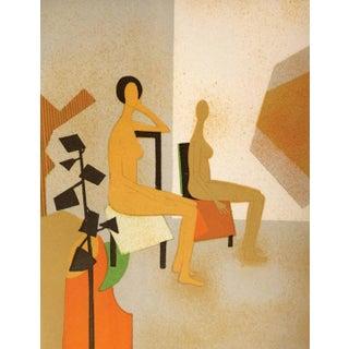 1974 Andre Minaux Les Deux Modeles Lithograph For Sale