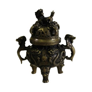 Chinese Brown Foo Dog Lid, Dragons Bronze Incense Burner For Sale