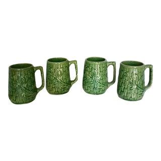 Vintage 1920's McCoy Stoneware Pottery Green Basketweave Mugs - Set of 4 For Sale