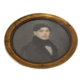 19th Century Miniature Portrait of Handsome Young Man For Sale