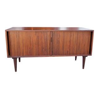1970s Mid-Century Modern Walnut Tambour Door Credenza