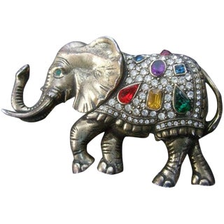 Jeweled Crystal Brass Metal Elephant Brooch Circa 1970s For Sale