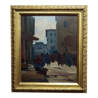Renato Natali -Women at the Market in Old Livorno -Oil Painting For Sale