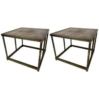 Pair of Mastercraft Mid-Century Burl and Brass Side Tables For Sale