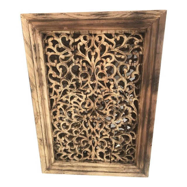 Old Carved Wood Window Screen For Sale