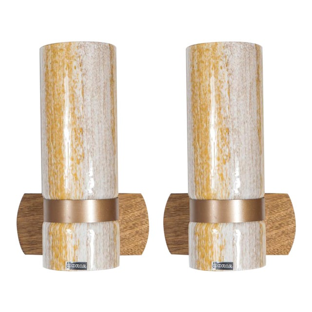 Handsome Pair of Sconces in Textured Yellow and White Glass by Doria For Sale