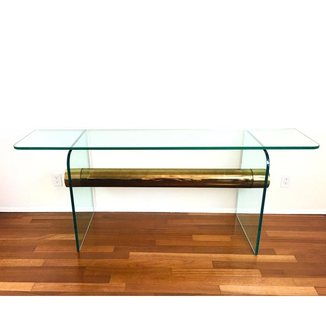 1970s Ultra Modern Glass & Brass Beam Console Sofa Table For Sale - Image 11 of 11