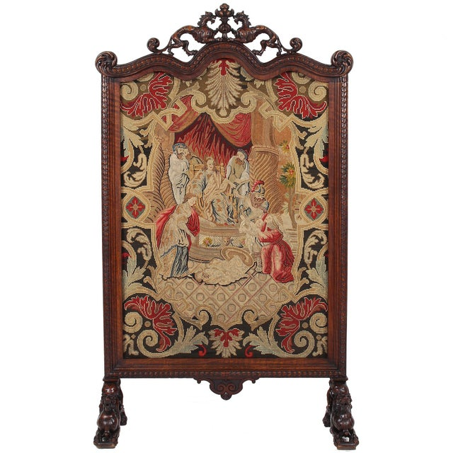 19th C. Carved Walnut Fireplace Screen With Tapestry For Sale - Image 13 of 13
