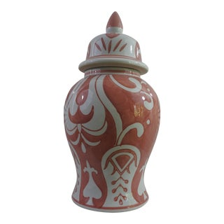 Chinese Handpainted Red & White Paisley Ginger Jar For Sale