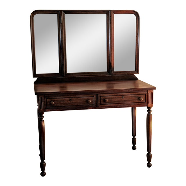 Early 20th Century Antique Mahogany Vanity & Mirror For Sale