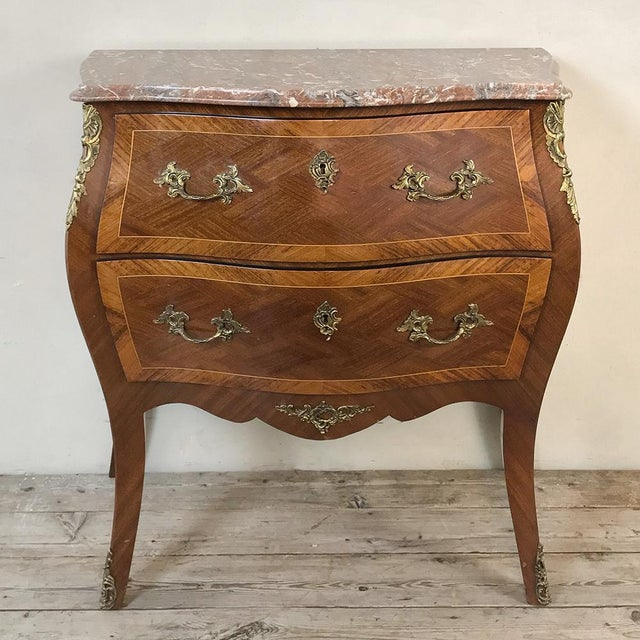 Antique French Louis XV Bombe Marquetry Marble Top Commode For Sale - Image 13 of 13