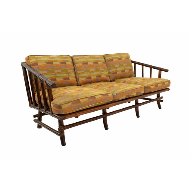 John Wisner for Ficks Reed Style Bamboo Mid Century 3-Seater Sofa For Sale - Image 9 of 9