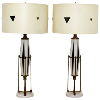 Mid-Century Modern Hollywood Regency Harlequin Brass Glass Marble Lamps - a Pair For Sale