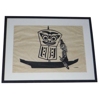 Large MCM Inuit Screenprint by C.B. Greul For Sale